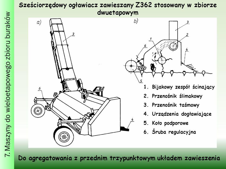 Sześciorzędowy ogławiacz zawieszany Z362 stosowany w zbiorze dwuetapowym 1.Bijakowy zespół ścinający 2.Przenośnik ślimakowy 3.Przenośnik taśmowy 4.Urządzenia dogławiające 5.Koło podporowe 6.Śruba regulacyjna Do agregatowania z przednim trzypunktowym układem zawieszenia 7.