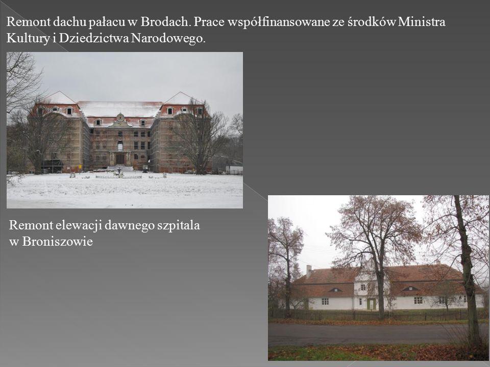 Remont dachu pałacu w Brodach.
