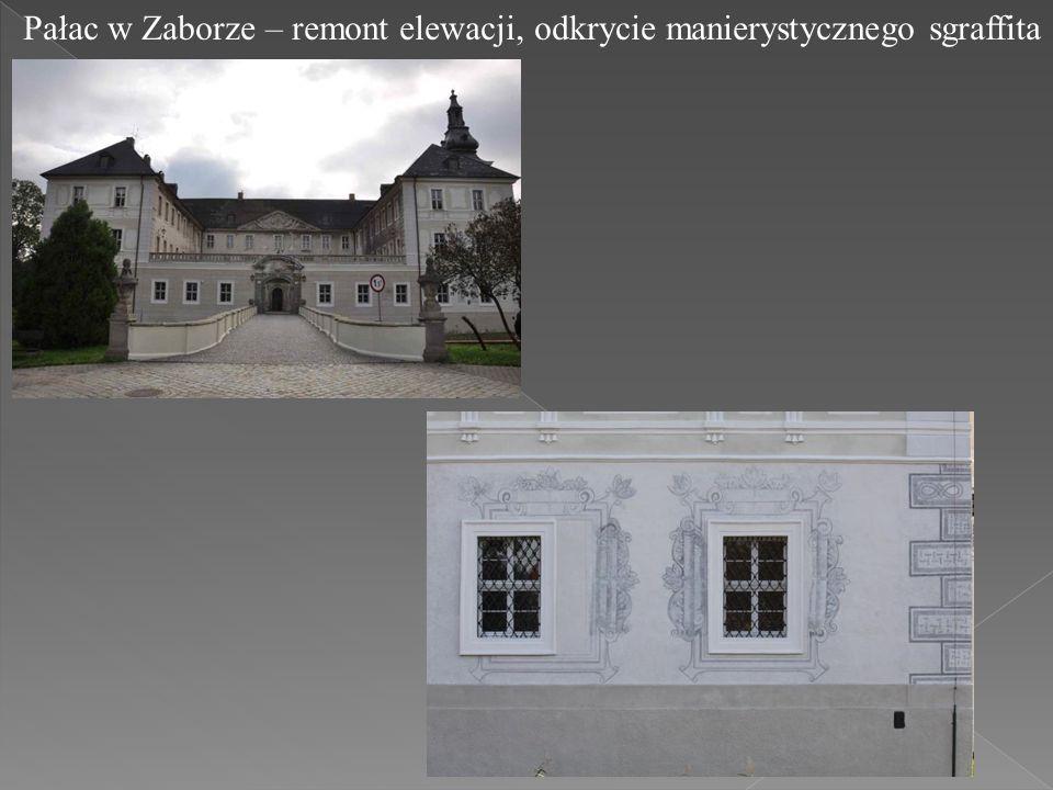 Pałac w Zaborze – remont elewacji, odkrycie manierystycznego sgraffita