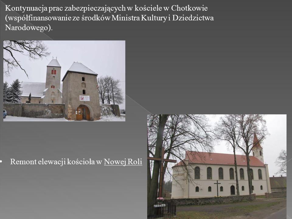 Kontynuacja prac zabezpieczających w kościele w Chotkowie (współfinansowanie ze środków Ministra Kultury i Dziedzictwa Narodowego).
