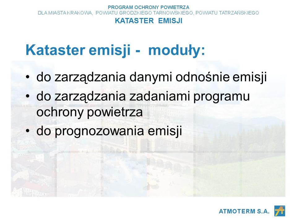 Kataster emisji - moduły: do zarządzania danymi odnośnie emisji do zarządzania zadaniami programu ochrony powietrza do prognozowania emisji