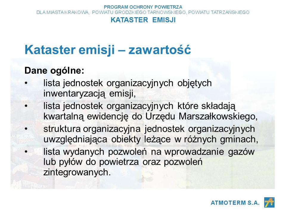 Kataster emisji – zawartość Dane ogólne: lista jednostek organizacyjnych objętych inwentaryzacją emisji, lista jednostek organizacyjnych które składają kwartalną ewidencję do Urzędu Marszałkowskiego, struktura organizacyjna jednostek organizacyjnych uwzględniająca obiekty leżące w różnych gminach, lista wydanych pozwoleń na wprowadzanie gazów lub pyłów do powietrza oraz pozwoleń zintegrowanych.