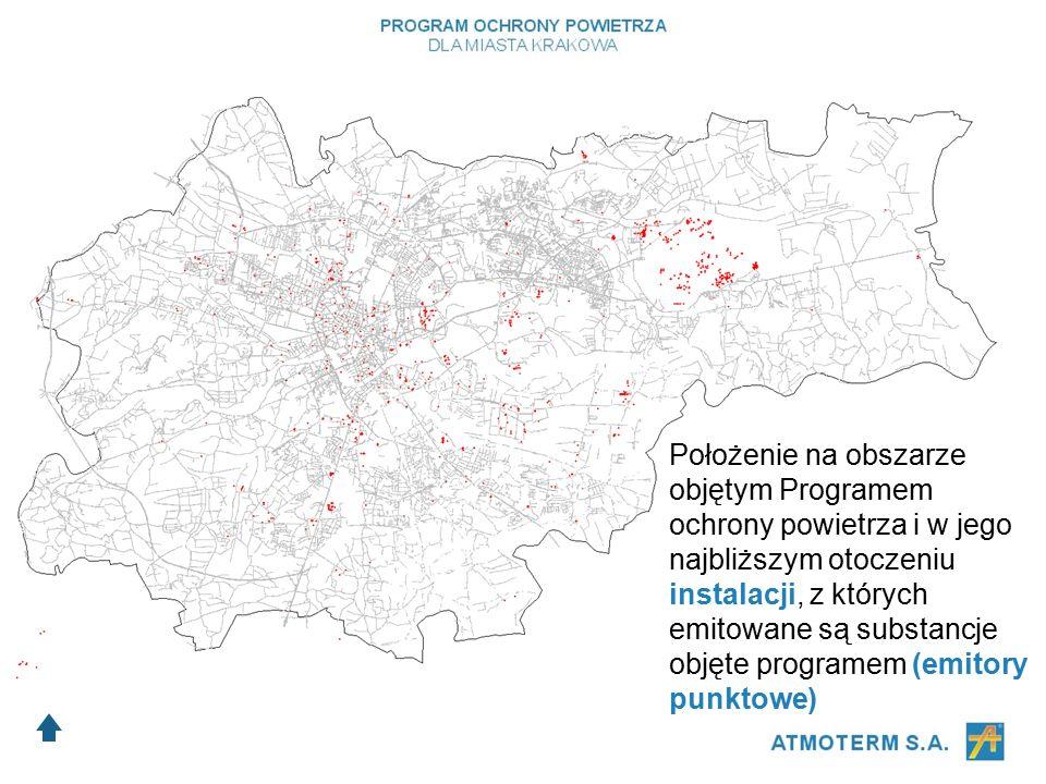 Położenie na obszarze objętym Programem ochrony powietrza i w jego najbliższym otoczeniu instalacji, z których emitowane są substancje objęte programem (emitory punktowe)