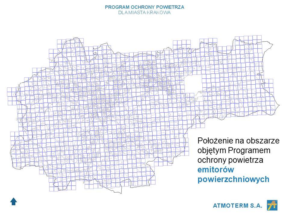 Położenie na obszarze objętym Programem ochrony powietrza emitorów powierzchniowych