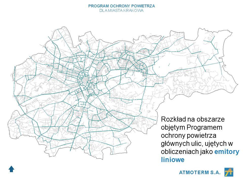 Rozkład na obszarze objętym Programem ochrony powietrza głównych ulic, ujętych w obliczeniach jako emitory liniowe