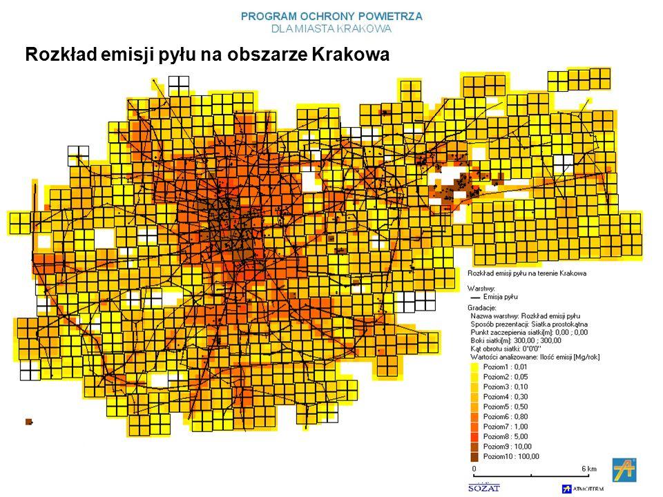 Rozkład emisji pyłu na obszarze Krakowa