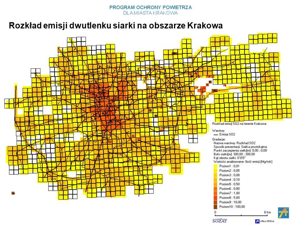 Rozkład emisji dwutlenku siarki na obszarze Krakowa