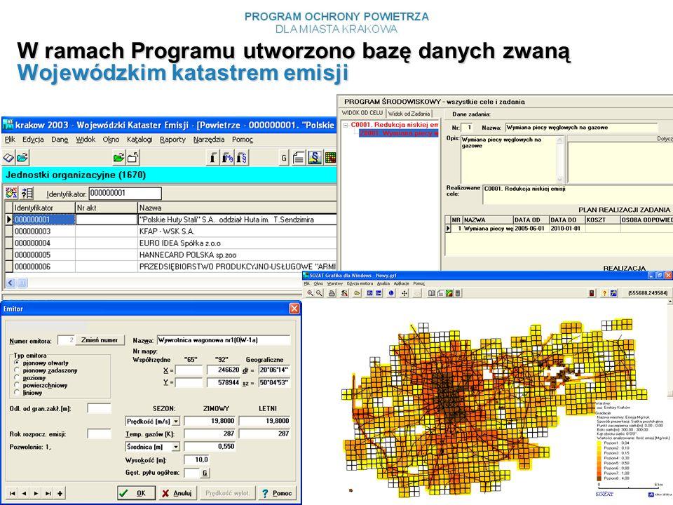 W ramach Programu utworzono bazę danych zwaną Wojewódzkim katastrem emisji