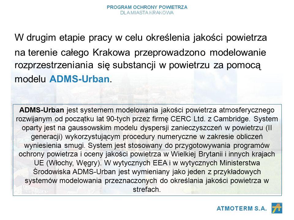 W drugim etapie pracy w celu określenia jakości powietrza na terenie całego Krakowa przeprowadzono modelowanie rozprzestrzeniania się substancji w powietrzu za pomocą modelu ADMS-Urban.