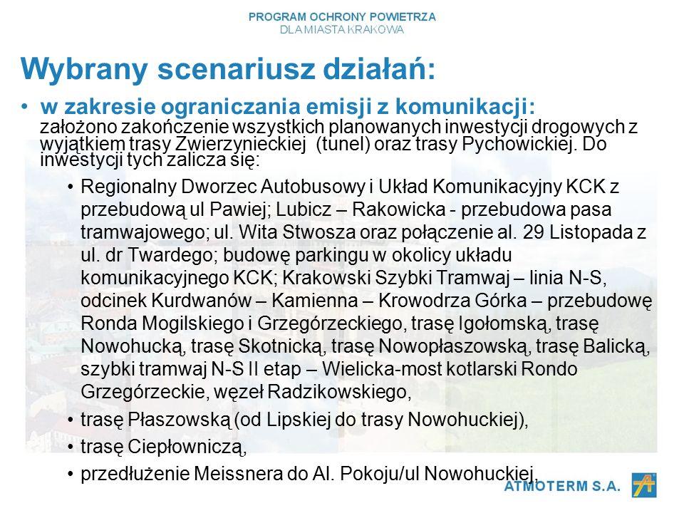 Wybrany scenariusz działań: w zakresie ograniczania emisji z komunikacji: założono zakończenie wszystkich planowanych inwestycji drogowych z wyjątkiem trasy Zwierzynieckiej (tunel) oraz trasy Pychowickiej.