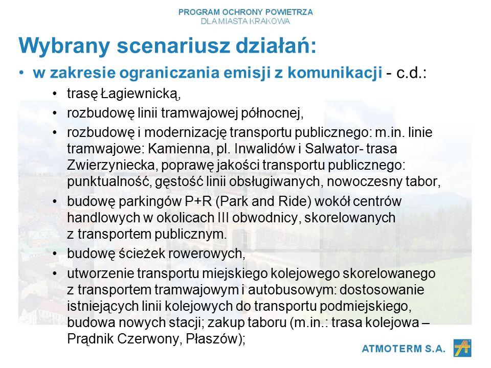 Wybrany scenariusz działań: w zakresie ograniczania emisji z komunikacji - c.d.: trasę Łagiewnicką, rozbudowę linii tramwajowej północnej, rozbudowę i modernizację transportu publicznego: m.in.