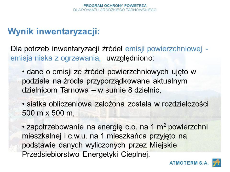 Dla potrzeb inwentaryzacji źródeł emisji powierzchniowej - emisja niska z ogrzewania, uwzględniono: dane o emisji ze źródeł powierzchniowych ujęto w podziale na źródła przyporządkowane aktualnym dzielnicom Tarnowa – w sumie 8 dzielnic, siatka obliczeniowa założona została w rozdzielczości 500 m x 500 m, zapotrzebowanie na energię c.o.