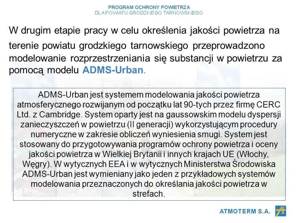W drugim etapie pracy w celu określenia jakości powietrza na terenie powiatu grodzkiego tarnowskiego przeprowadzono modelowanie rozprzestrzeniania się substancji w powietrzu za pomocą modelu ADMS-Urban.