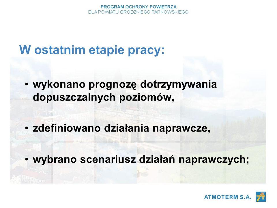 W ostatnim etapie pracy: wykonano prognozę dotrzymywania dopuszczalnych poziomów, zdefiniowano działania naprawcze, wybrano scenariusz działań naprawczych;