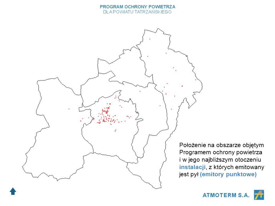 Położenie na obszarze objętym Programem ochrony powietrza i w jego najbliższym otoczeniu instalacji, z których emitowany jest pył (emitory punktowe)