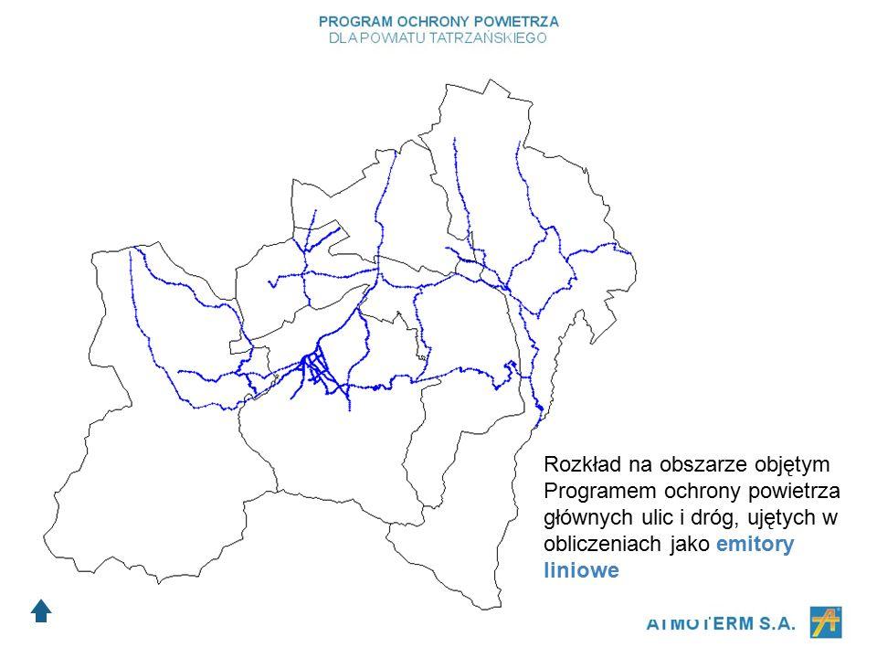 Rozkład na obszarze objętym Programem ochrony powietrza głównych ulic i dróg, ujętych w obliczeniach jako emitory liniowe