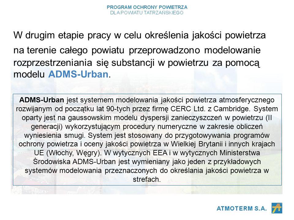 W drugim etapie pracy w celu określenia jakości powietrza na terenie całego powiatu przeprowadzono modelowanie rozprzestrzeniania się substancji w powietrzu za pomocą modelu ADMS-Urban.