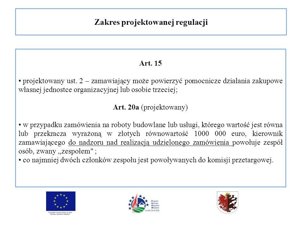 Zakres projektowanej regulacji Art. 15 projektowany ust.