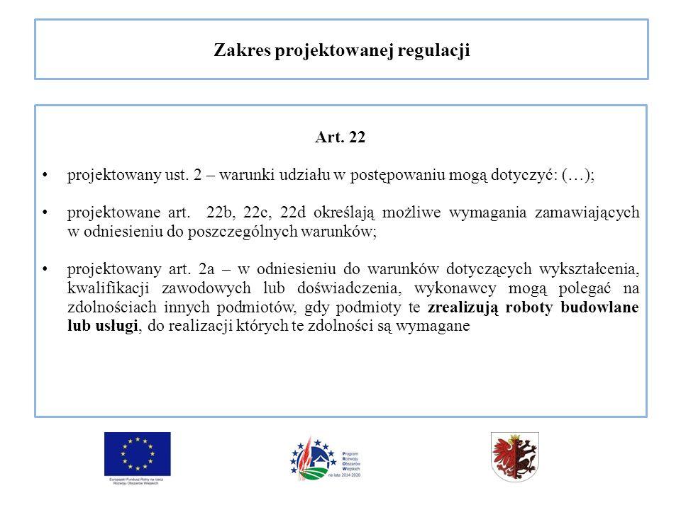 Zakres projektowanej regulacji Art. 22 projektowany ust.