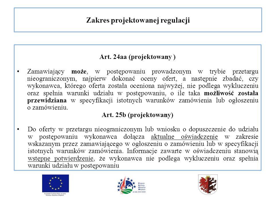 Zakres projektowanej regulacji Art.