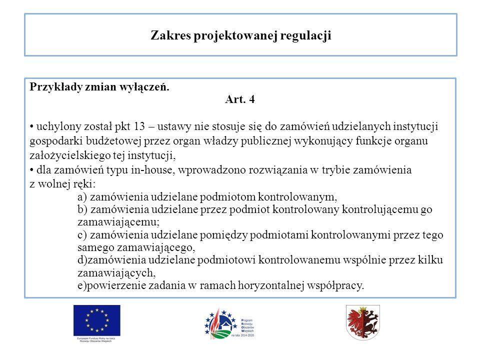 Zakres projektowanej regulacji Przykłady zmian wyłączeń.