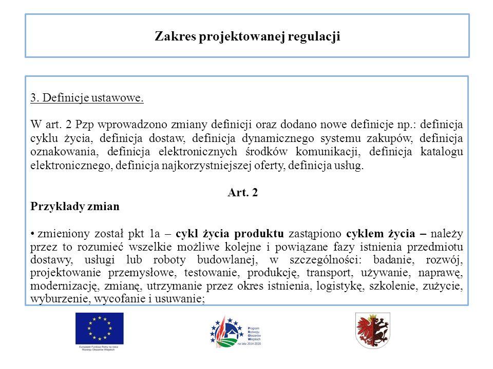Zakres projektowanej regulacji 3. Definicje ustawowe.
