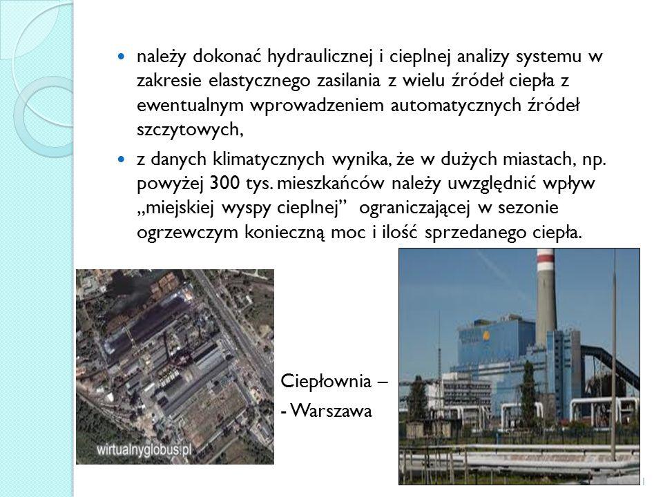 należy dokonać hydraulicznej i cieplnej analizy systemu w zakresie elastycznego zasilania z wielu źródeł ciepła z ewentualnym wprowadzeniem automatycznych źródeł szczytowych, z danych klimatycznych wynika, że w dużych miastach, np.