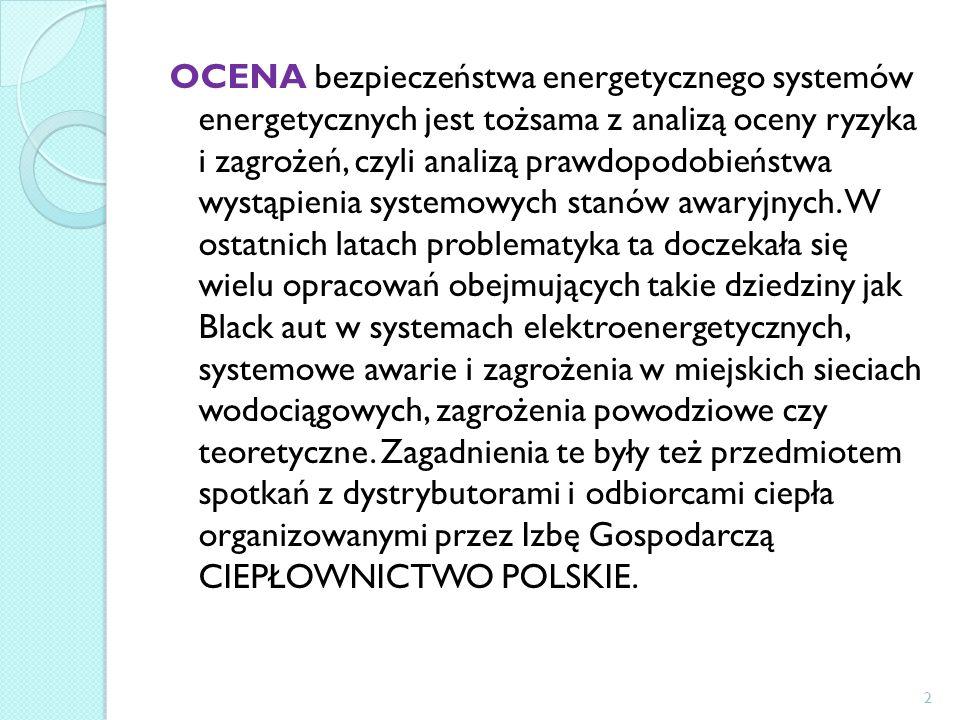 OCENA bezpieczeństwa energetycznego systemów energetycznych jest tożsama z analizą oceny ryzyka i zagrożeń, czyli analizą prawdopodobieństwa wystąpienia systemowych stanów awaryjnych.