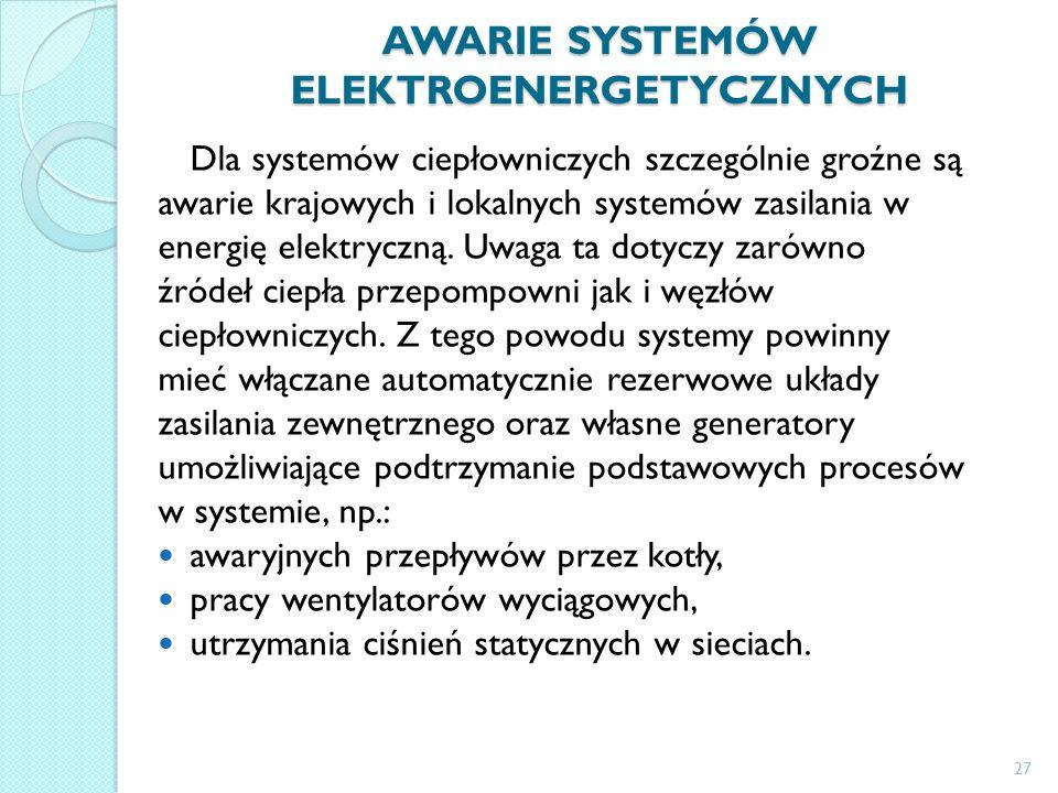 AWARIE SYSTEMÓW ELEKTROENERGETYCZNYCH Dla systemów ciepłowniczych szczególnie groźne są awarie krajowych i lokalnych systemów zasilania w energię elektryczną.