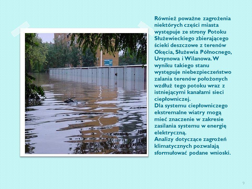 Również poważne zagrożenia niektórych części miasta występuje ze strony Potoku Służewieckiego zbierającego ścieki deszczowe z terenów Okęcia, Służewia Północnego, Ursynowa i Wilanowa.