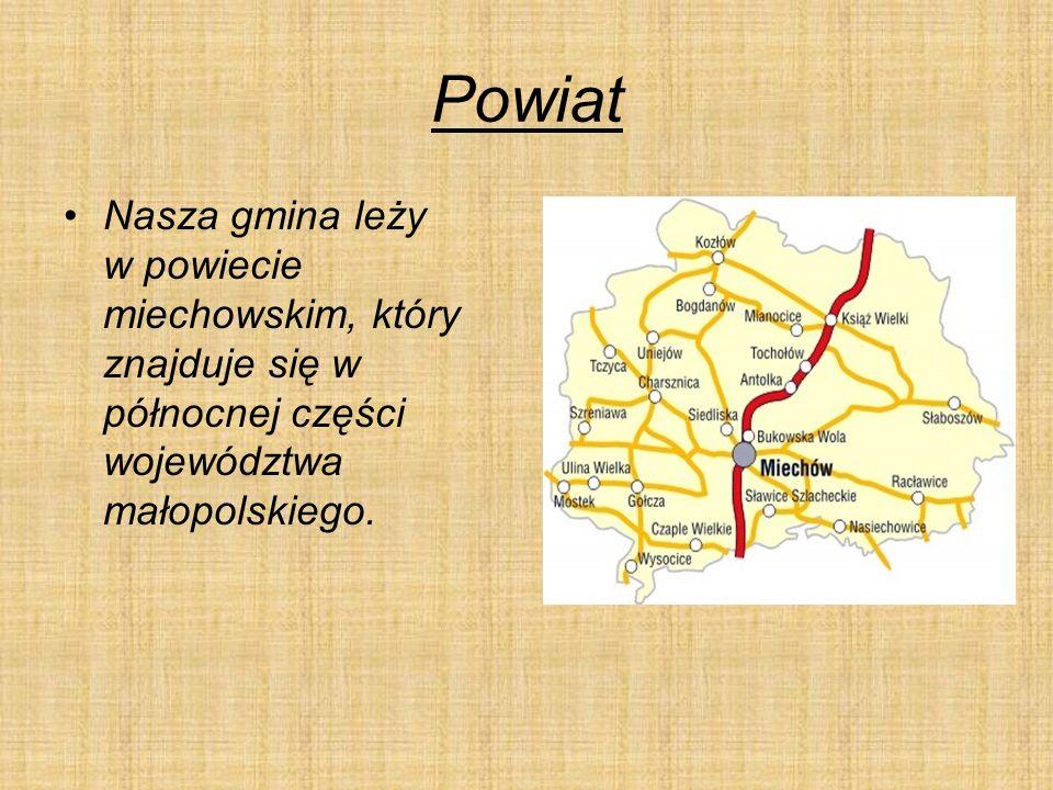 Powiat Nasza gmina leży w powiecie miechowskim, który znajduje się w północnej części województwa małopolskiego.