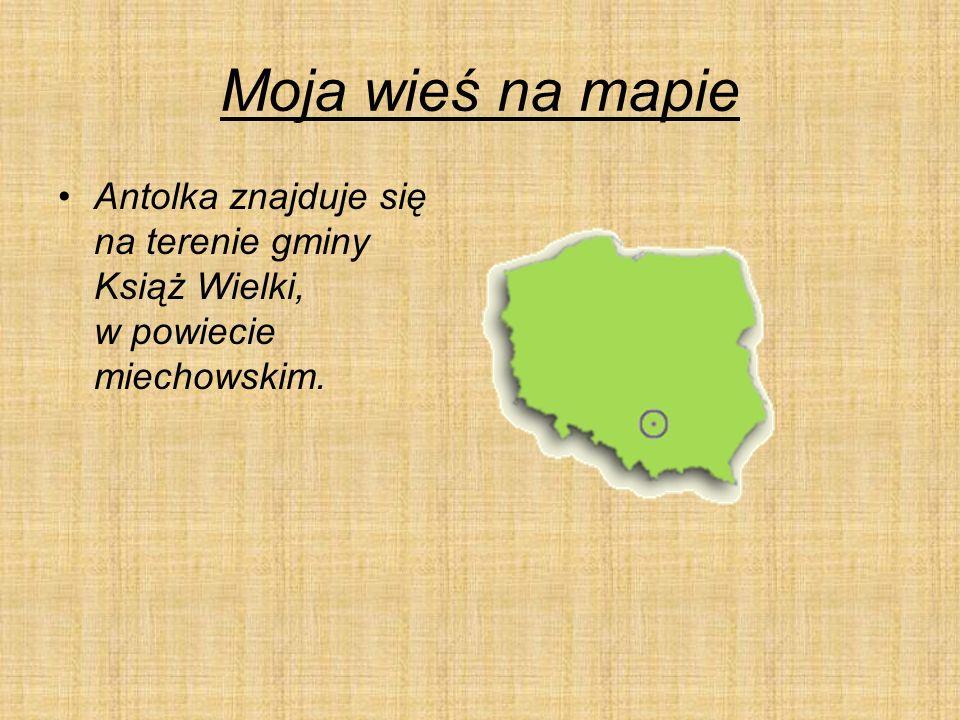 Moja wieś na mapie Antolka znajduje się na terenie gminy Książ Wielki, w powiecie miechowskim.