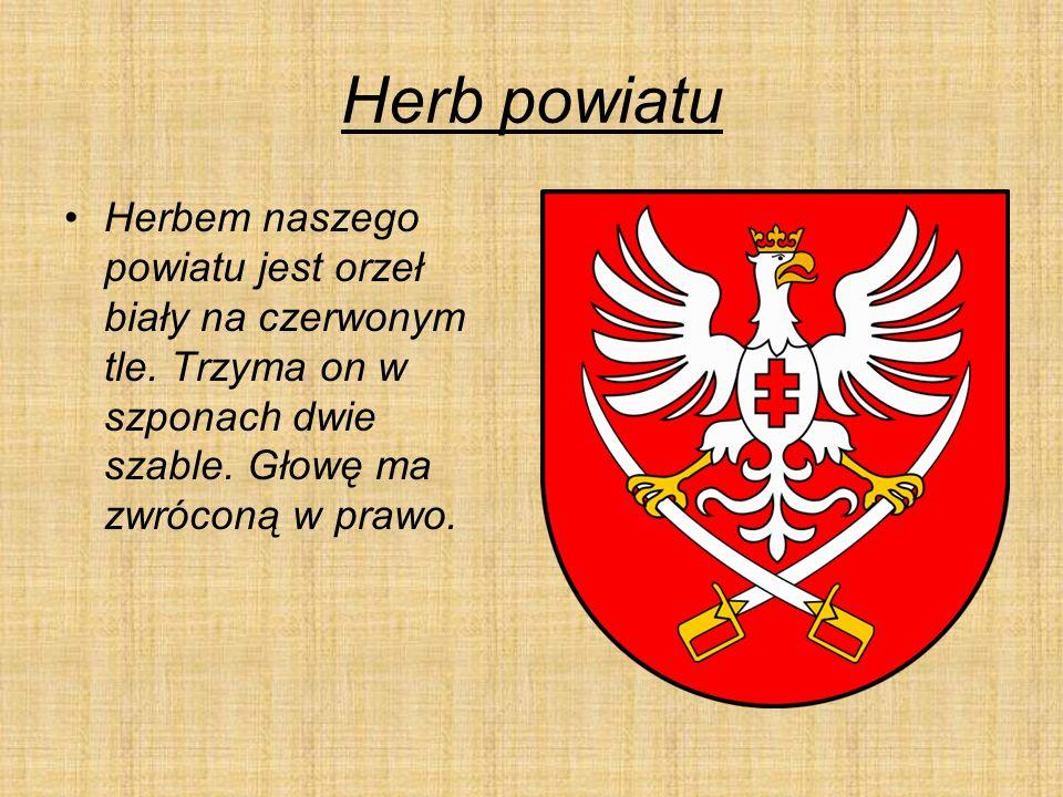 Herb powiatu Herbem naszego powiatu jest orzeł biały na czerwonym tle.