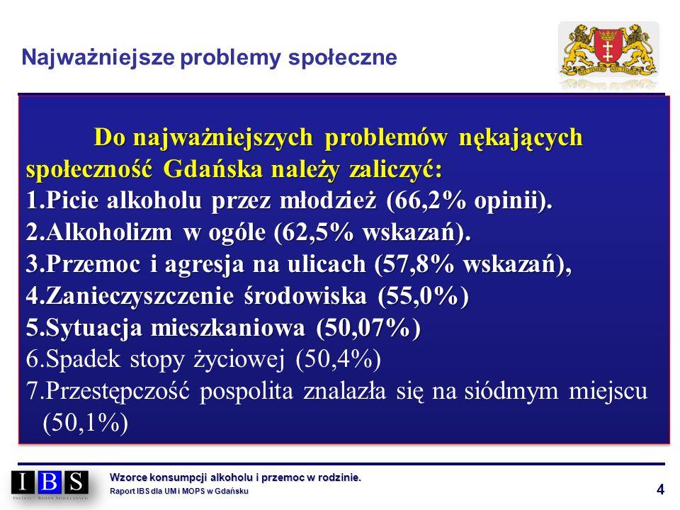 4 Wzorce konsumpcji alkoholu i przemoc w rodzinie. Raport IBS dla UM i MOPS w Gdańsku Do najważniejszych problemów nękających społeczność Gdańska nale