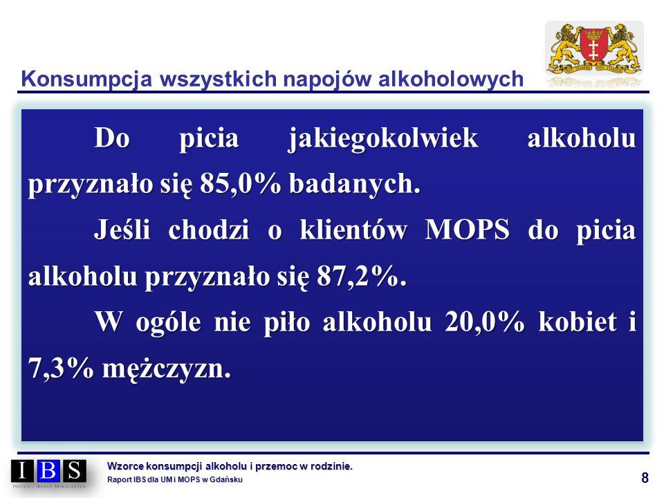 8 Wzorce konsumpcji alkoholu i przemoc w rodzinie. Raport IBS dla UM i MOPS w Gdańsku Do picia jakiegokolwiek alkoholu przyznało się 85,0% badanych. J