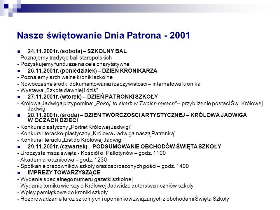 Nasze świętowanie Dnia Patrona - 2001 24.11.2001r.