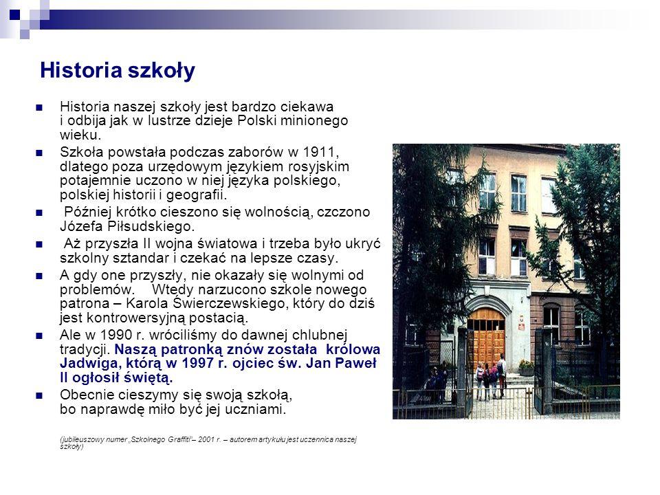Historia szkoły Historia naszej szkoły jest bardzo ciekawa i odbija jak w lustrze dzieje Polski minionego wieku.