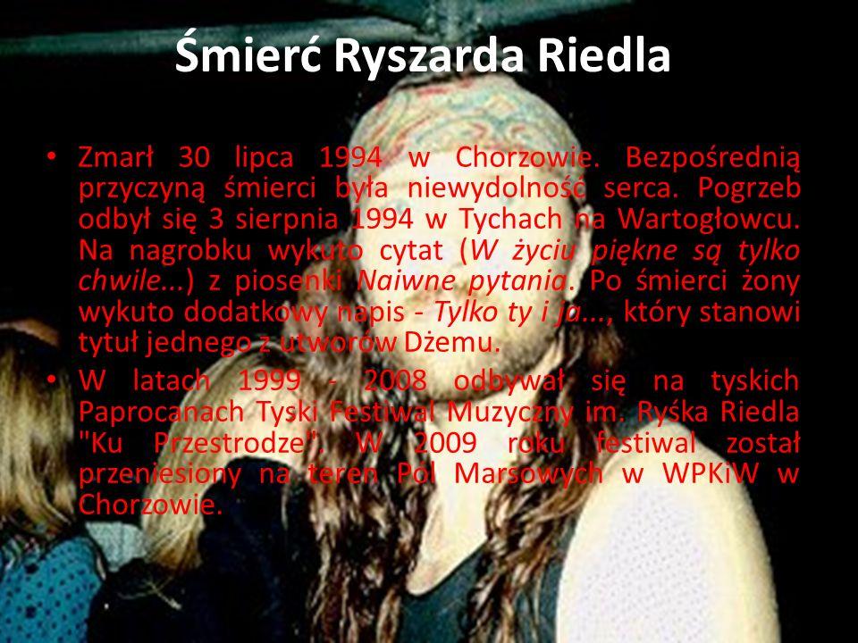 Śmierć Ryszarda Riedla Zmarł 30 lipca 1994 w Chorzowie. Bezpośrednią przyczyną śmierci była niewydolność serca. Pogrzeb odbył się 3 sierpnia 1994 w Ty