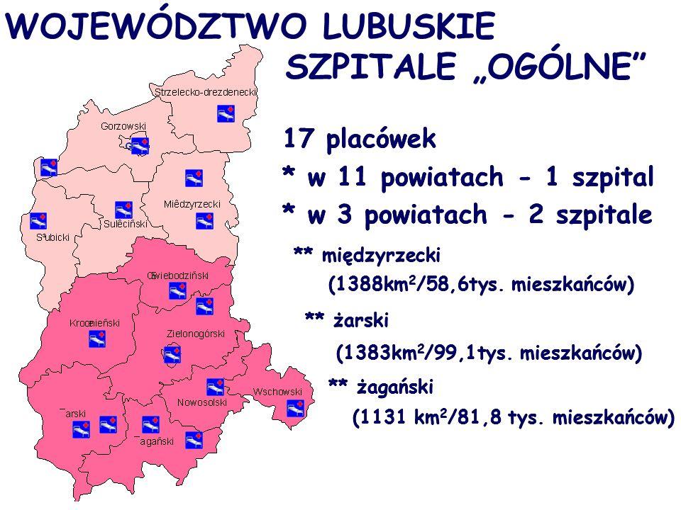 """WOJEWÓDZTWO LUBUSKIE SZPITALE """"OGÓLNE 17 placówek * w 11 powiatach - 1 szpital * w 3 powiatach - 2 szpitale ** międzyrzecki (1388km 2 /58,6tys."""