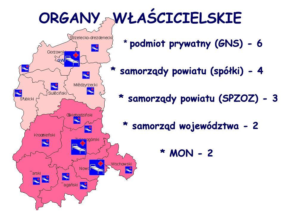 ORGANY WŁAŚCICIELSKIE * podmiot prywatny (GNS) - 6 * samorządy powiatu (spółki) - 4 * samorządy powiatu (SPZOZ) - 3 * samorząd województwa - 2 * MON - 2 * podmiot prywatny (GNS) - 6 * samorządy powiatu (spółki) - 4 * samorządy powiatu (SPZOZ) - 3 * samorząd województwa - 2 * MON - 2