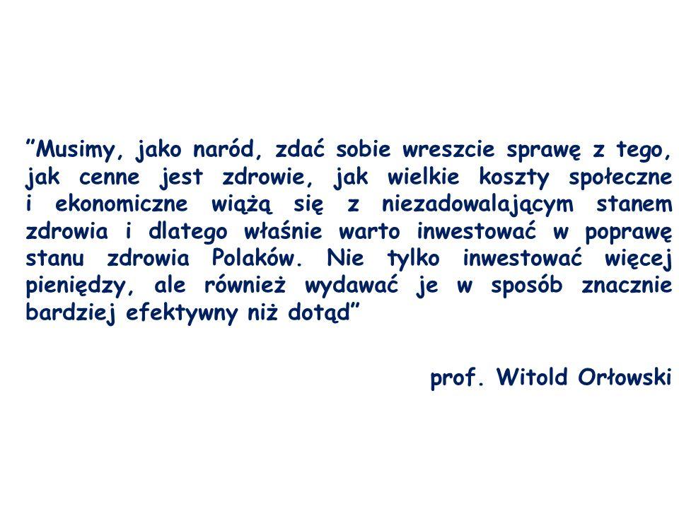 Musimy, jako naród, zdać sobie wreszcie sprawę z tego, jak cenne jest zdrowie, jak wielkie koszty społeczne i ekonomiczne wiążą się z niezadowalającym stanem zdrowia i dlatego właśnie warto inwestować w poprawę stanu zdrowia Polaków.