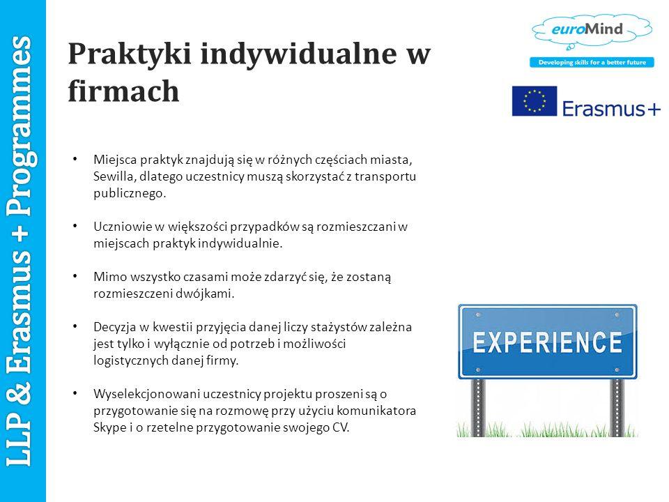 Praktyki indywidualne w firmach Miejsca praktyk znajdują się w różnych częściach miasta, Sewilla, dlatego uczestnicy muszą skorzystać z transportu publicznego.