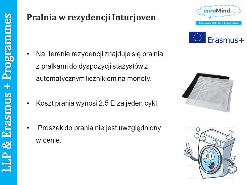 Pralnia w rezydencji Inturjoven Na terenie rezydencji znajduje się pralnia z pralkami do dyspozycji stażystów z automatycznym licznikiem na monety.