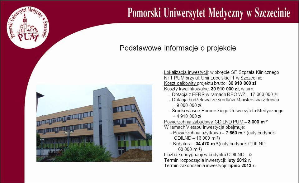 Lokalizacja inwestycji: w obrębie SP Szpitala Klinicznego Nr 1 PUM przy ul. Unii Lubelskiej 1 w Szczecinie Koszt całkowity projektu brutto: 30 910 000