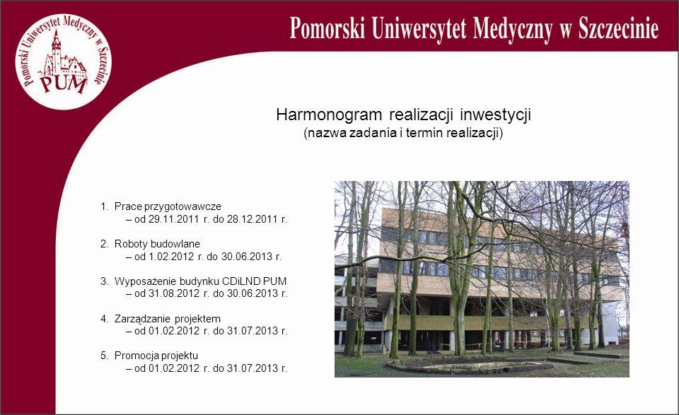 Harmonogram realizacji inwestycji (nazwa zadania i termin realizacji) 1. Prace przygotowawcze – od 29.11.2011 r. do 28.12.2011 r. 2. Roboty budowlane