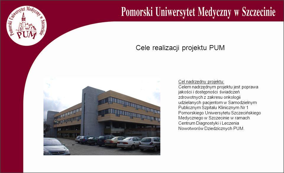 Cele realizacji projektu PUM Cel nadrzędny projektu: Celem nadrzędnym projektu jest poprawa jakości i dostępności świadczeń zdrowotnych z zakresu onkologii udzielanych pacjentom w Samodzielnym Publicznym Szpitalu Klinicznym Nr 1 Pomorskiego Uniwersytetu Szczecińskiego Medycznego w Szczecinie w ramach Centrum Diagnostyki i Leczenia Nowotworów Dziedzicznych PUM.