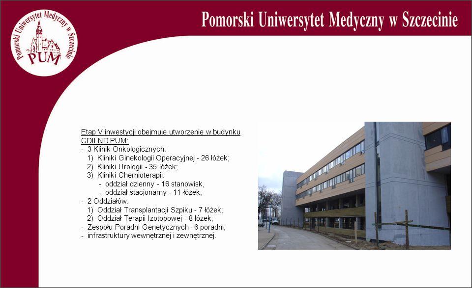Etap V inwestycji obejmuje utworzenie w budynku CDILND PUM: - 3 Klinik Onkologicznych: 1) Kliniki Ginekologii Operacyjnej - 26 łóżek; 2) Kliniki Urolo