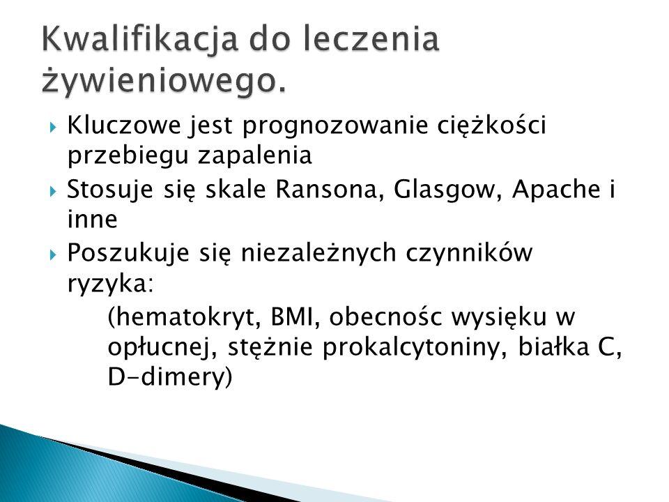  Żywienie dojelitowe/ pozajelitowe należy rozpoczynać po wyrównaniu hemodynamicznym (resuscytacji płynowej) (rekomendacja B ESPEN)