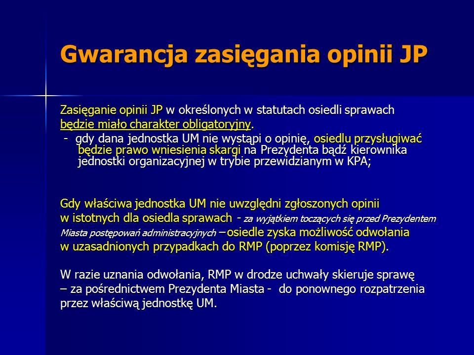 Gwarancja zasięgania opinii JP Zasięganie opinii JP w określonych w statutach osiedli sprawach będzie miało charakter obligatoryjny.