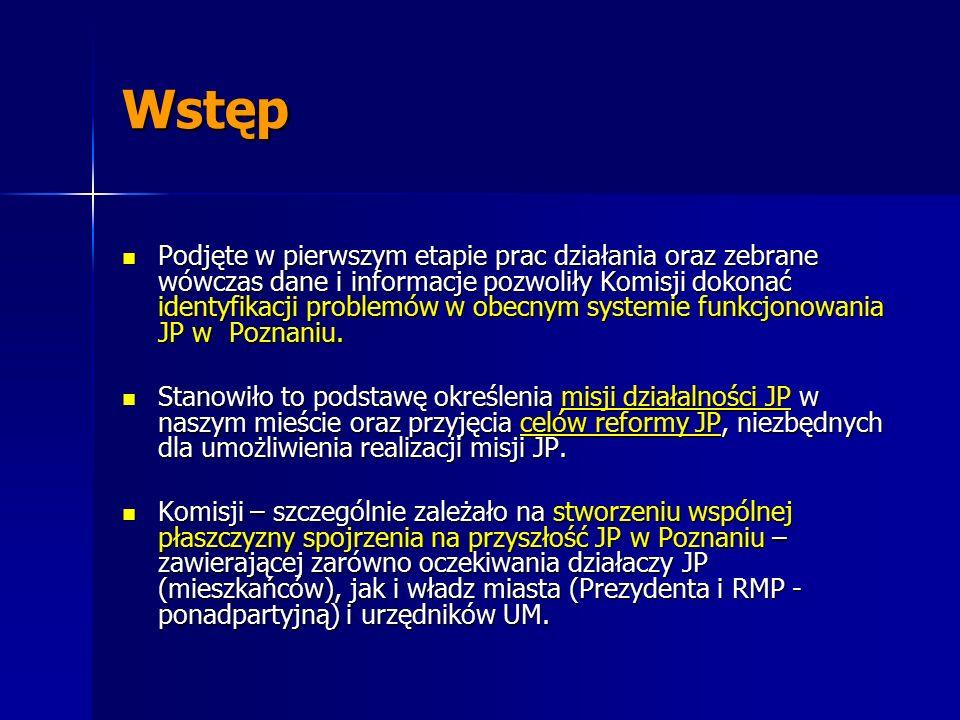 Wstęp Podjęte w pierwszym etapie prac działania oraz zebrane wówczas dane i informacje pozwoliły Komisji dokonać identyfikacji problemów w obecnym systemie funkcjonowania JP w Poznaniu.